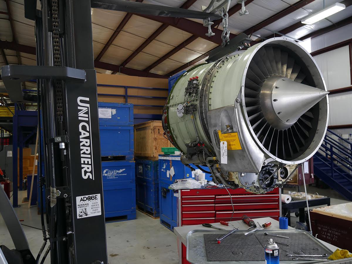 TFE731 engine during maintenance